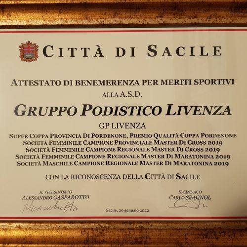 attestato benemerenza sportiva gp livenza 2019